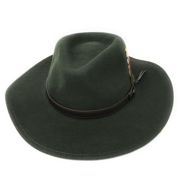 Fedora Cowboy Hat Crushable Safari  with Removable Feather - Dark Green